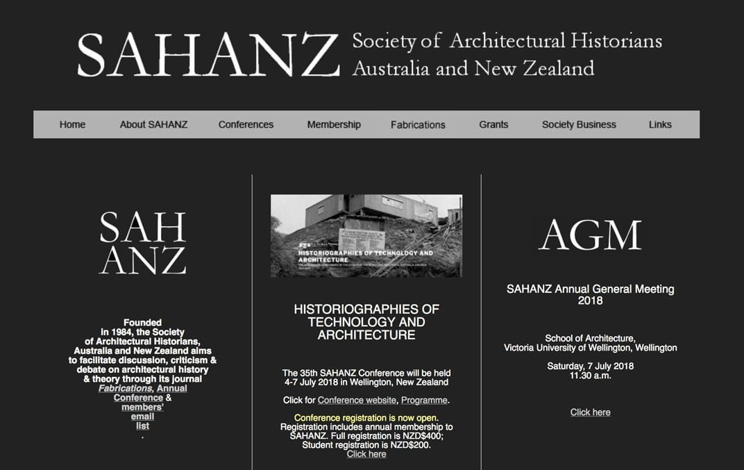 Old SAHANZ website